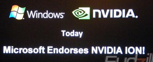 Klik voor het artikel op Fudzilla (Fudzilla -- Microsoft endorses Nvidia ION platform)