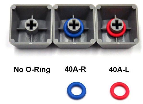 O-Rings onder de keycaps zorgen voor een stillere en zachtere aanslag.