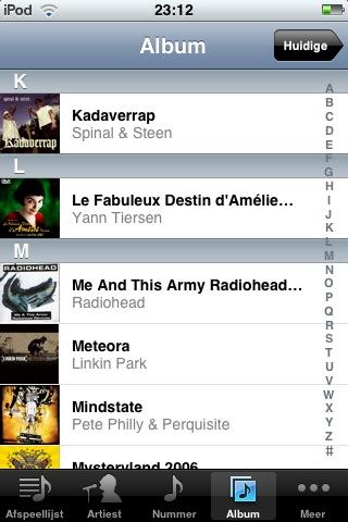 Muziek applicatie met de iPhone rechtop