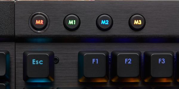 De macro- en modus-toetsen zijn alleen beschikbaar op de K95 (RGB).