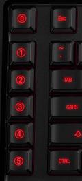 De zes macrotoetsen aan de linkerkant van het toetsenbord.