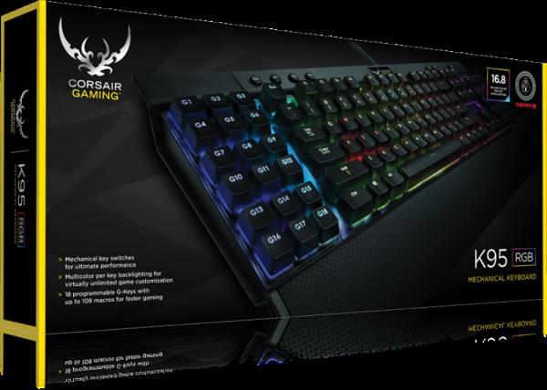 De K95 RGB is niet alleen groot, maar ook zwaar. Het toetsenbord weegt 1,2kg. Het totaal gewicht, inclusief de doos van Corsair en de doos waarin de leverancier het geheel verzond, bedraagt 2,4kg. Goed verpakt dus.